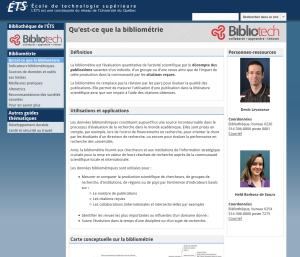 Page d'accueil du guide sur la bibliométrie fait par la bibliothèque de l'École de technologie supérieure